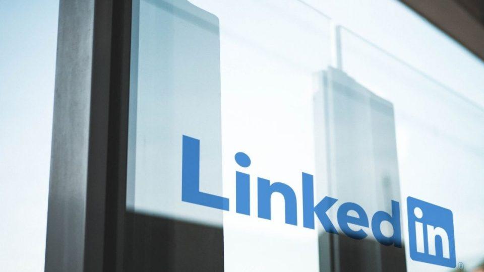 LinkedIn logo on glass door