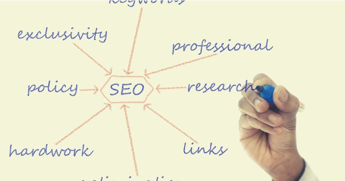 a persons hand writing SEO terms